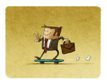 Hombre de negocios con un maletín en la mano está montando en un monopatín Foto de archivo - 100126081