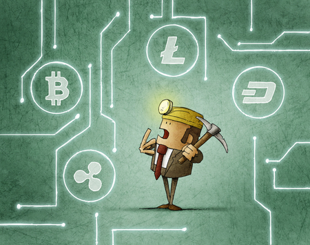 mining businessman is deciding what kind of cryptocurrency to catch Stockfoto