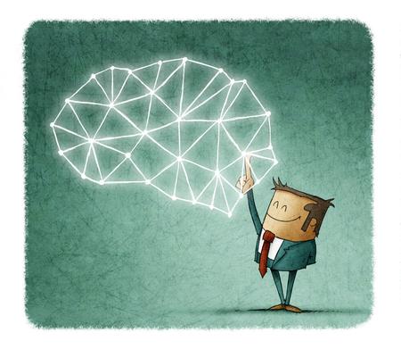 Concepto de lluvia de ideas con el empresario apuntando en el cerebro creativo sobre fondo azul Foto de archivo - 102024025