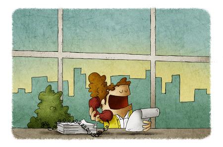 Ilustración de mujer hablando por teléfono mientras trabajaba en la oficina Foto de archivo - 102143854