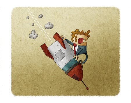 Businessman falling down on top of a rocket. Business failure, the rocket fall down. Concept of failed start up Stock fotó