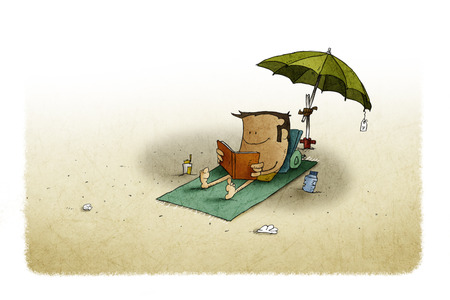 illustration of beach, under an umbrella a man is lying on a towel while reading a book. Foto de archivo - 109040889