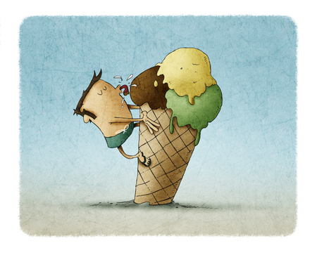 funny illustration of a man climbed on top of an ice cream and is licking it Foto de archivo - 109040910