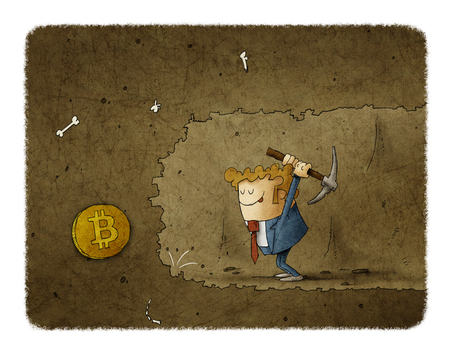 Businessman mining to find bitcoins. Business concept illustration Banco de Imagens
