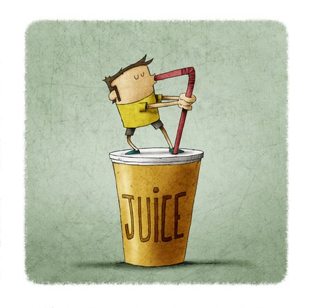 Soft drink. an drinking a big juice with a straw