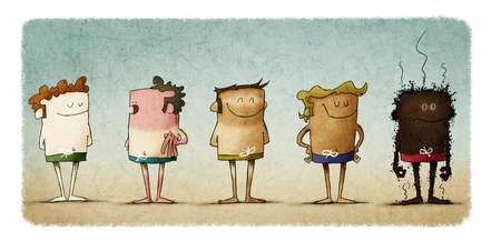 types of skin under the effects of the sun. five people with different skin color. Funny illustration about the importance of sun protection. Фото со стока