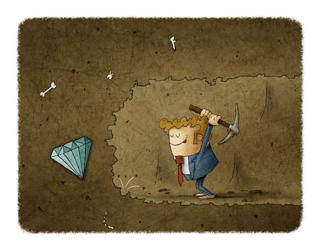 Minería de negocios para encontrar los símbolos de negocio de ilustración de concepto Foto de archivo - 109040958