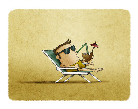 man with sunglasses on the beach relaxing and drinking cocktail under the heat of the sun. Contemporary style. illustration Stock Photo