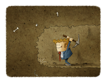 Businessman mining to find something.Business concept illustration