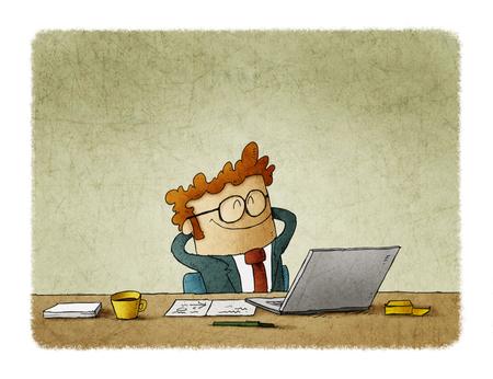 Ilustración de hombre de negocios guapo está sonriendo mientras se relaja en silla en la oficina Foto de archivo - 109040978