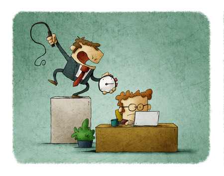 Business man holds a stopwatch and whip in hand, and a businessman works hard under him . Deadline time concept. Illustration Banque d'images