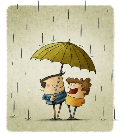 Illustration of two children sharing an umbrella to protect themselves from the rain