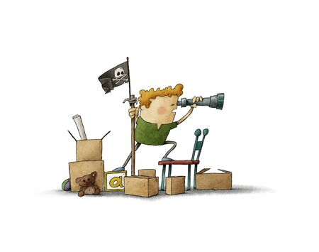 Boy pretending to be a pirate looks through a spyglass, illustration