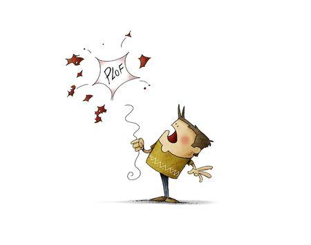 boy with a red balloon which get burst - Illustration 版權商用圖片