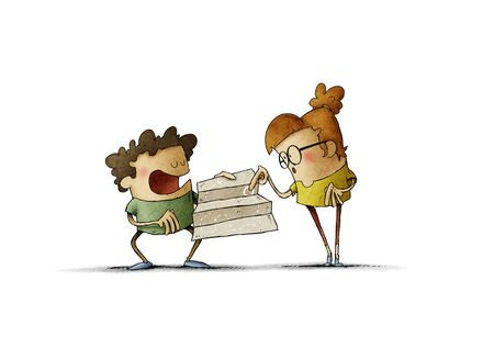 Two kids navigate with map treasure hunt - Illustration Stockfoto