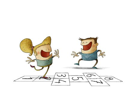 illustration of a boy and a girl are playing hopscotch Stockfoto
