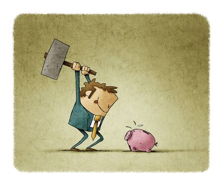 Businessman with a hammer in his hand is going to break a piggy bank and take out the savings. Stockfoto