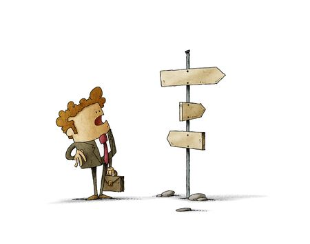 Businessman confused about direction. Business concept. Isolated