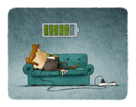 Illustration of a businessman on the sofa is connected to the power grid while recharging energy. Recharge concept. Фото со стока