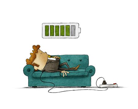 Illustration of a businessman on the sofa is connected to the power grid while recharging energy. Recharge concept. isolated Banque d'images - 131852711