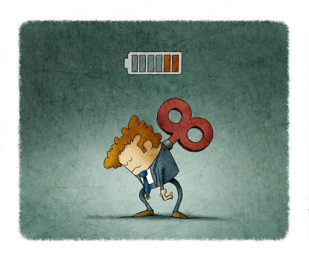 Tired businessman with a key winder on her back has no energy. illustration Stock fotó - 131852838