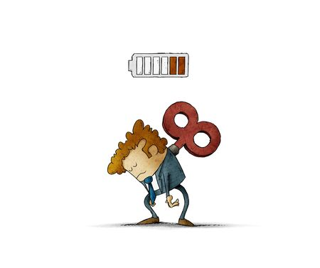 Tired businessman with a key winder on her back has no energy. illustration, isolated