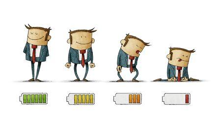 homme d'affaires en costume avec indicateur de batterie pour montrer son niveau d'énergie, de complètement chargé à déchargé. isolé