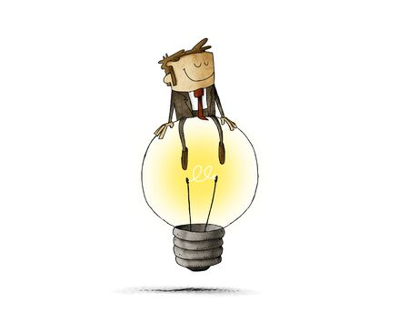 Cheerful man sitting on top of a big light bulb. idea and creativity concept. isolated Фото со стока
