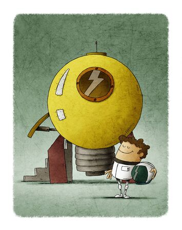 Man dressed as an astronaut next to a rocket shaped like a light bulb that is going to take off. Concept of creativity. Idea