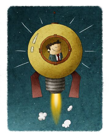 Businessman travels through space inside a rocket shaped like a light bulb. concept of entrepreneurship and creativity.
