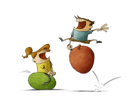 happy boy and girl jumping on bouncing ball. Isolated
