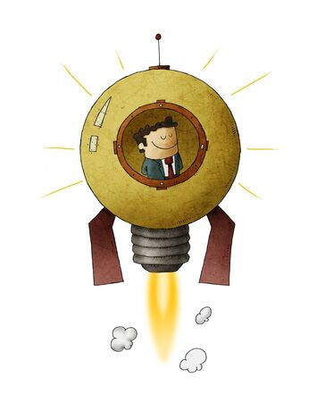 Businessman travels through space inside a rocket shaped like a light bulb. concept of entrepreneurship and creativity. isolated Stock fotó