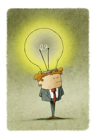 businessman has placed a light bulb as an idea in his head Фото со стока - 131852340