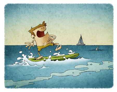 funny illustration of a man surfing on top of a surfboard