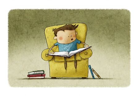 Little boy in the age of learning to read. Funny illustration of a boy sitting in an armchair with an open book.