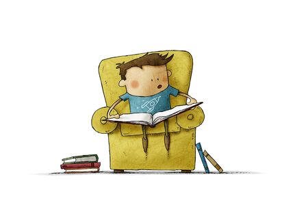 Little boy in the age of learning to read. Funny illustration of a boy sitting in an armchair with an open book. isolated.