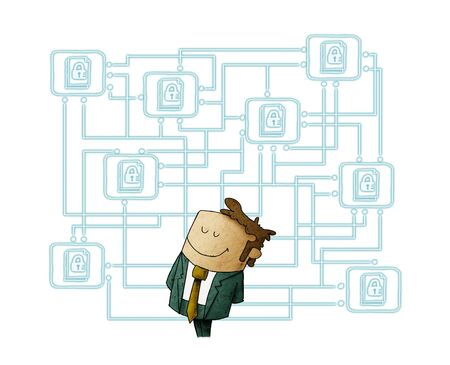 Illustration of a man with his digital files protected behind. Protect cloud information data concept. isolated