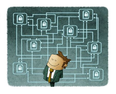 Illustration of a man with his digital files protected behind. Protect cloud information data concept. Stockfoto