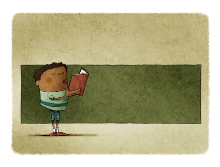 Boy with a book in his hands is reading, behind there is space in green to put text.