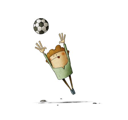 illustration of a little boy who is jumping to grab a soccer ball. isolated