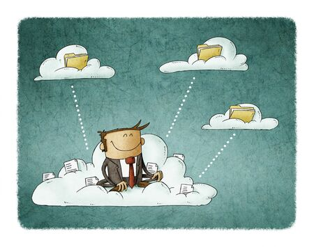 Businessman sitting on a cloud with files is transferring these to other clouds with folders.