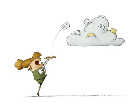 Business woman is launching a document to a cloud where there are more documents. isolated