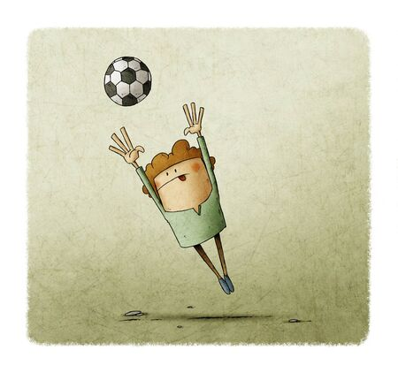 illustration of a little boy who is jumping to grab a soccer ball Stockfoto