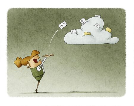 Business woman is launching a document to a cloud where there are more documents