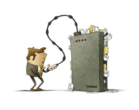 Businessman is transferring files from his mobile to a hard drive that is very full. isolated
