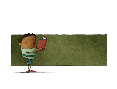 Boy with a book in his hands is reading, behind there is space in green to put text. isolated