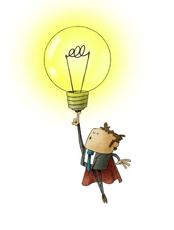 Businessman dressed in superhero with cape, flies raising a light bulb with his finger. creativity concept. isolated