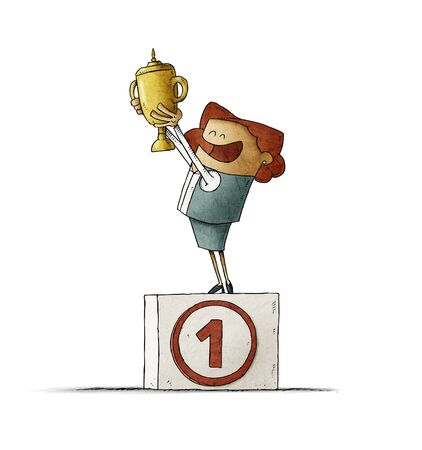 Business woman on a podium with the number one lifts a trophy with her hands. isolated Stockfoto