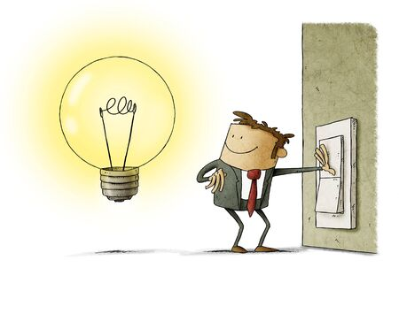 Businessman presses a switch and turns on a light bulb symbol of having an idea. isolated