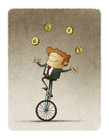 Businessman riding a unicycle juggles four currencies from different countries. Stockfoto